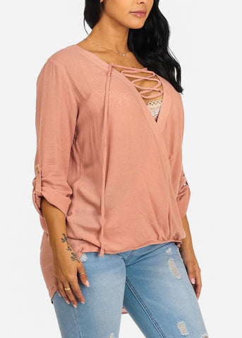 Image of Pink Elastic Waist Blouse