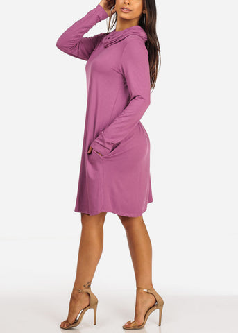 Casual Cowl Neckline Long Sleeve Flowy Violet Dress W Pockets