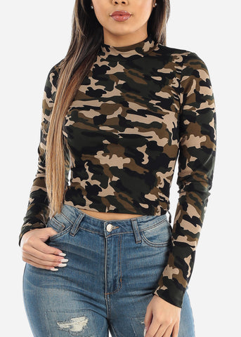 Image of Long Sleeve Camouflage Top