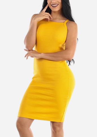Image of Sleeveless Casual Yellow Bodycon Dress