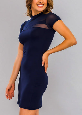 Navy Bodycon Mesh Detail Dress