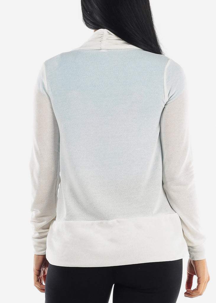 Long Sleeve Open Front White Cardigan