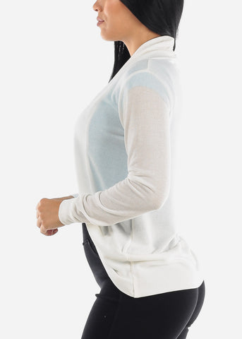 Image of Long Sleeve Open Front White Cardigan