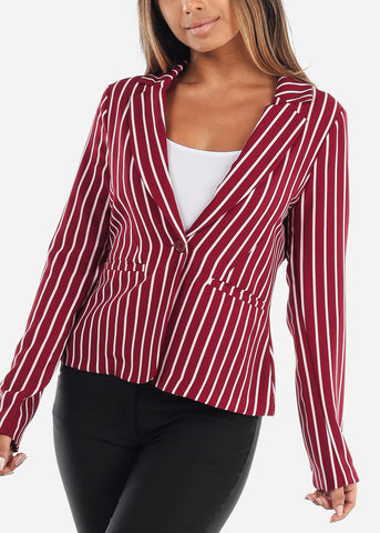 Stylish Red Stripe Long Sleeve Office Business Wear One Button Blazer