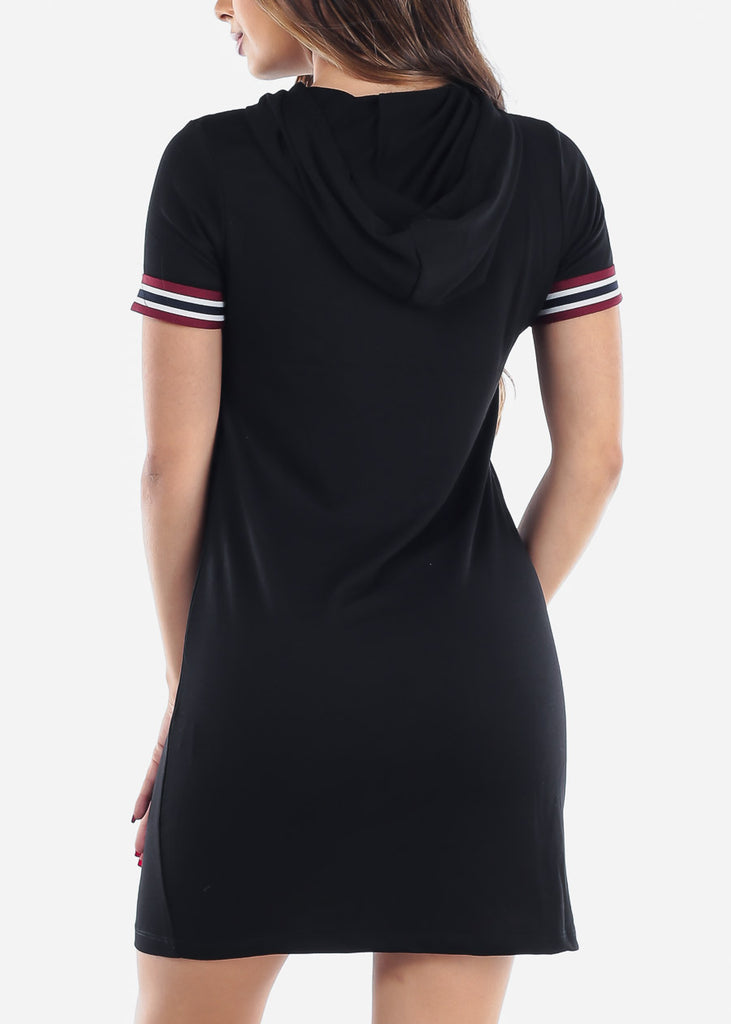 Cute Casual Slip On Black T Shirt Loose Fit Dress With Hoody