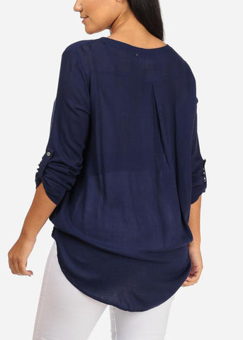 3/4 Roll Up Sleeve Wrap Front Lace Up Neckline High Low Navy Top
