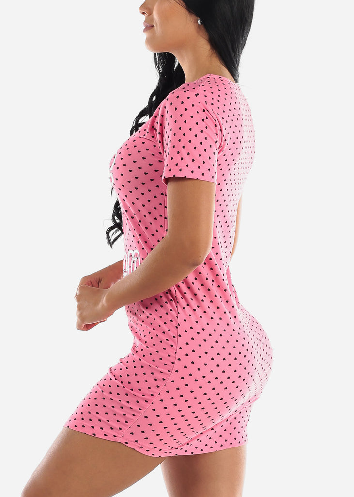"Pink Printed Sleep Dress ""Love 2 Nap"""