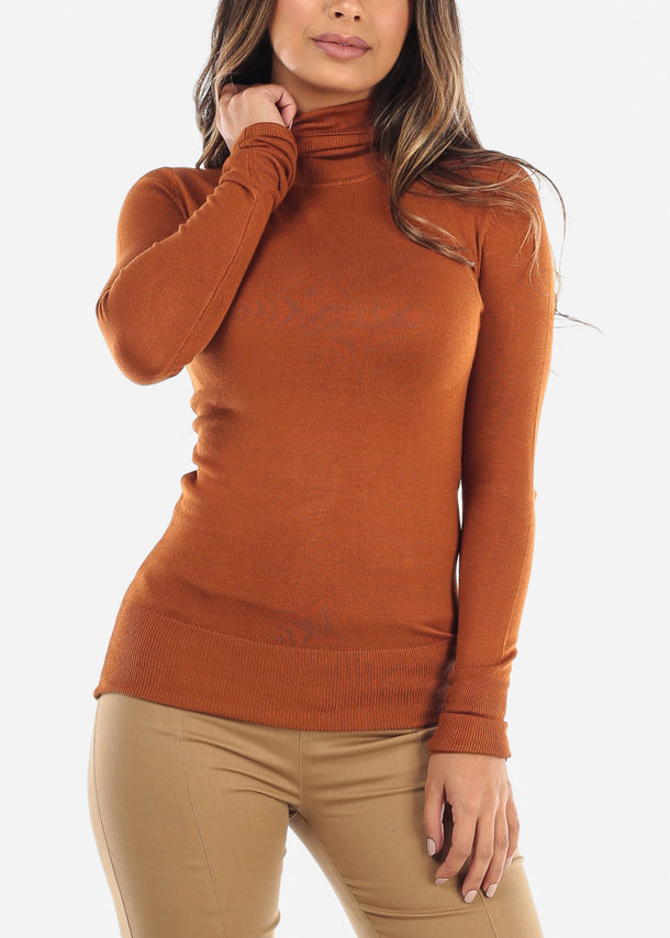Brick Turtle Neck Top BFT11144BRICK