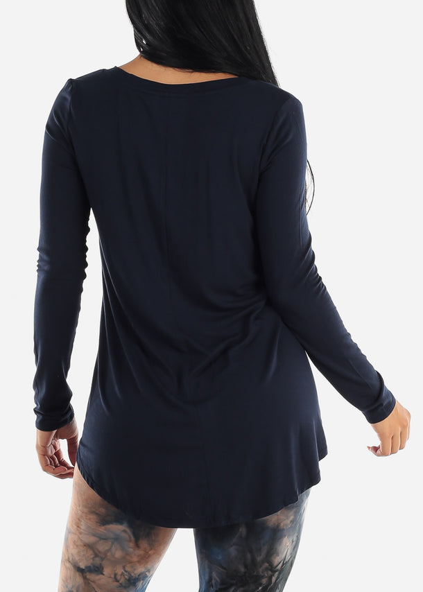 Navy V-Neck Dolphin Hem Tunic Top
