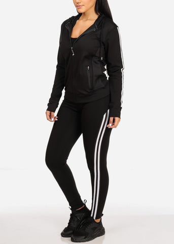Image of Activewear Stripe Print Black Long Sleeve Jacket W Hood And High Rise Leggings (2PCE SET)