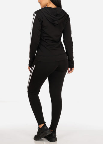 Activewear Stripe Print Black Long Sleeve Jacket W Hood And High Rise Leggings (2PCE SET)