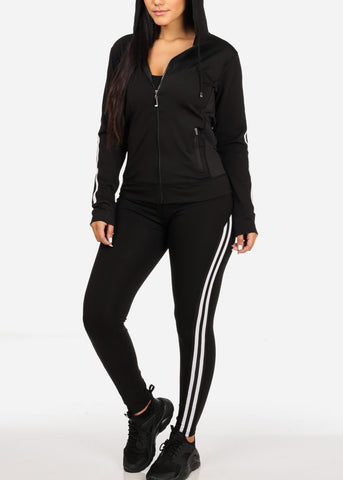 Image of Black Jacket W Hood And High Rise Leggings (2PCE SET)