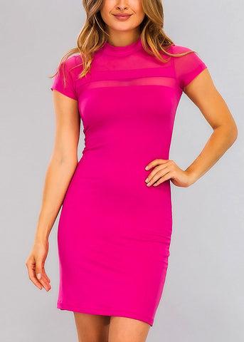 Pink Bodycon Mesh Detail Dress