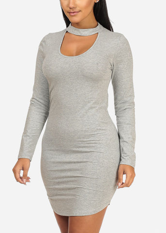 Keyhole Neckline Grey Dress