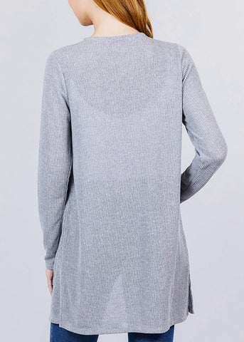 Image of Grey Bottom Pocket Knit Cardigan