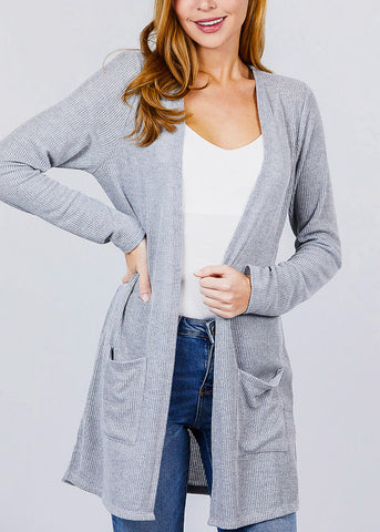 Grey Bottom Pocket Knit Cardigan