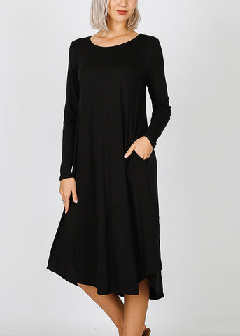 Image of Black Long Sleeve Pocket Dress
