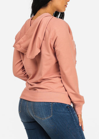 Image of Lace Up Pink Sweater Hoodie