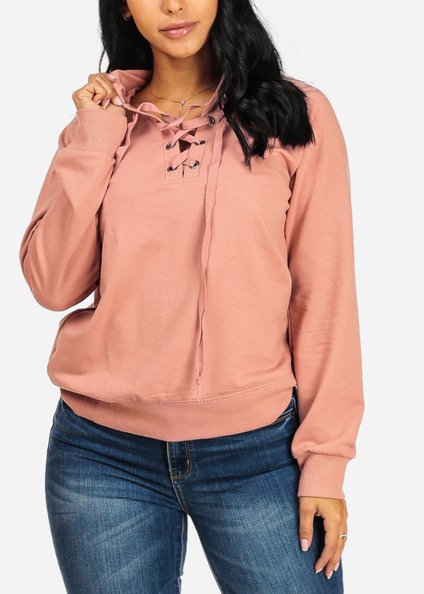 Lace Up Pink Sweater Hoodie
