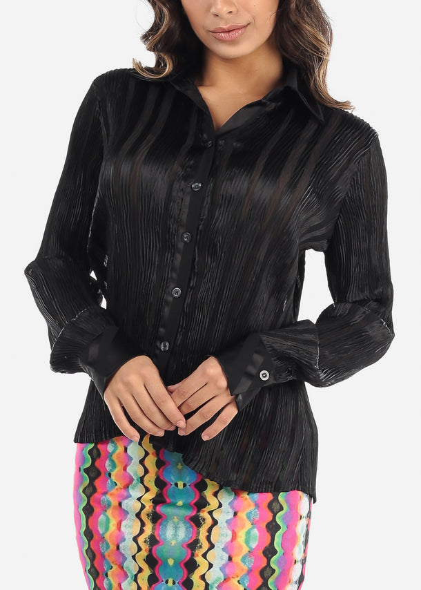 Pleated Black Button Down Blouse
