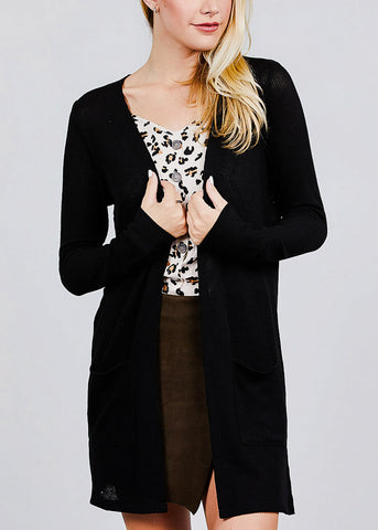 Black Bottom Pocket Knit Cardigan