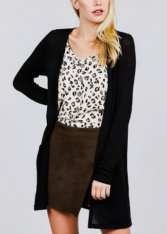 Image of Black Bottom Pocket Knit Cardigan