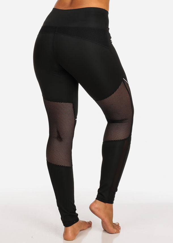Activewear Black Fishnet And Mesh High Rise Leggings W White Detail