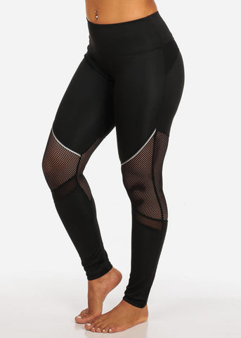 Image of Activewear Black Fishnet And Mesh High Rise Leggings W White Detail