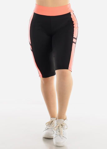 Image of High Waist Black & Coral Biker Shorts