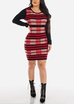 Stripe Red & Black Mini Sweater Dress
