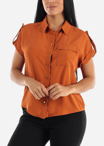 Rust Button Up Cap Sleeve Shirt