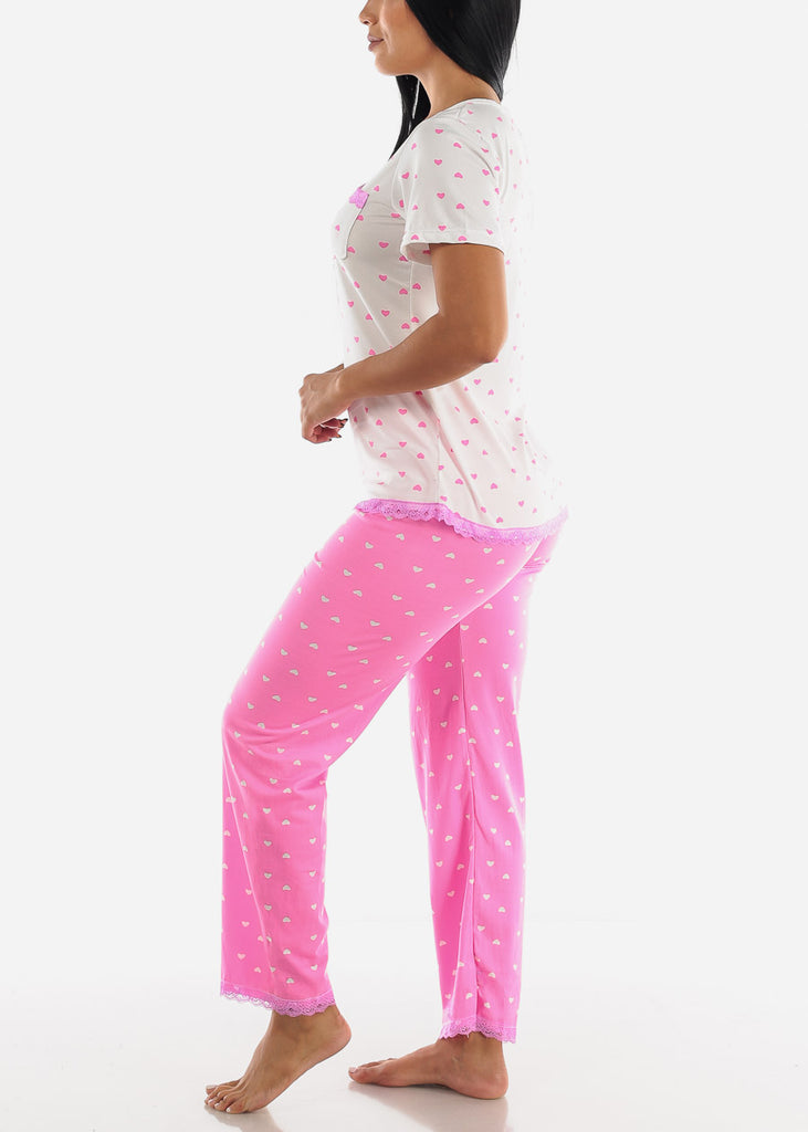 Pink Heart Printed Top & Pants (2 PCE PJ SET)