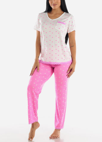 Image of Pink Heart Printed Top & Pants (2 PCE PJ SET)
