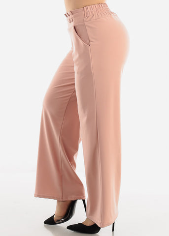 Peach High Waist Dressy Pants