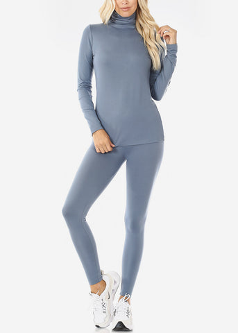 Cement Mock Neck Top & Leggings (2 PCE SET)