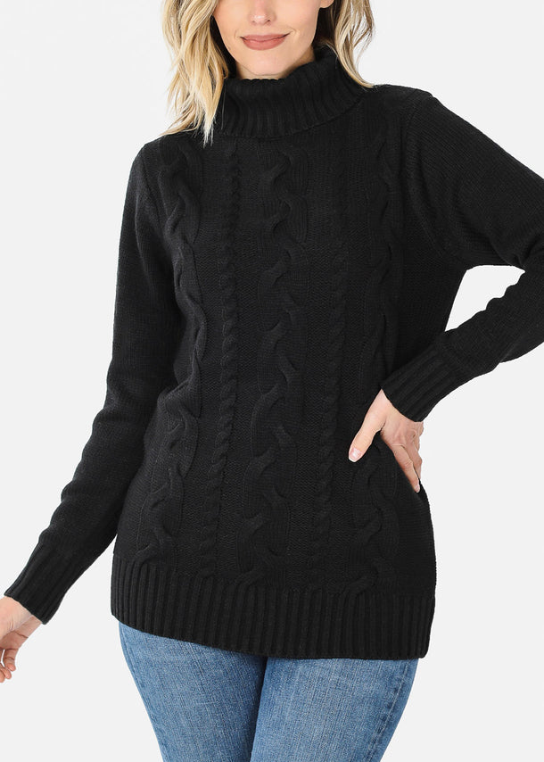 Knit Turtleneck Black Sweater