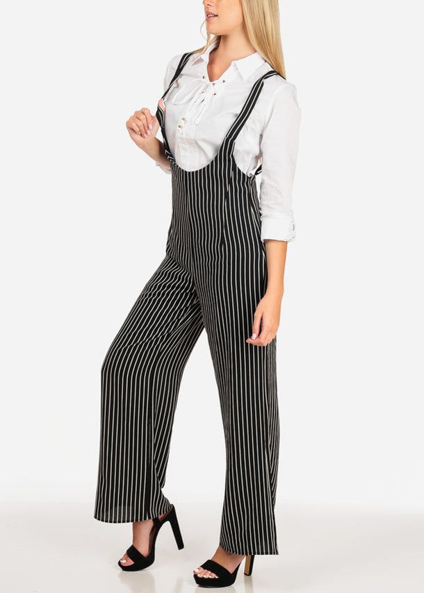 Stripe Black Overall Pants