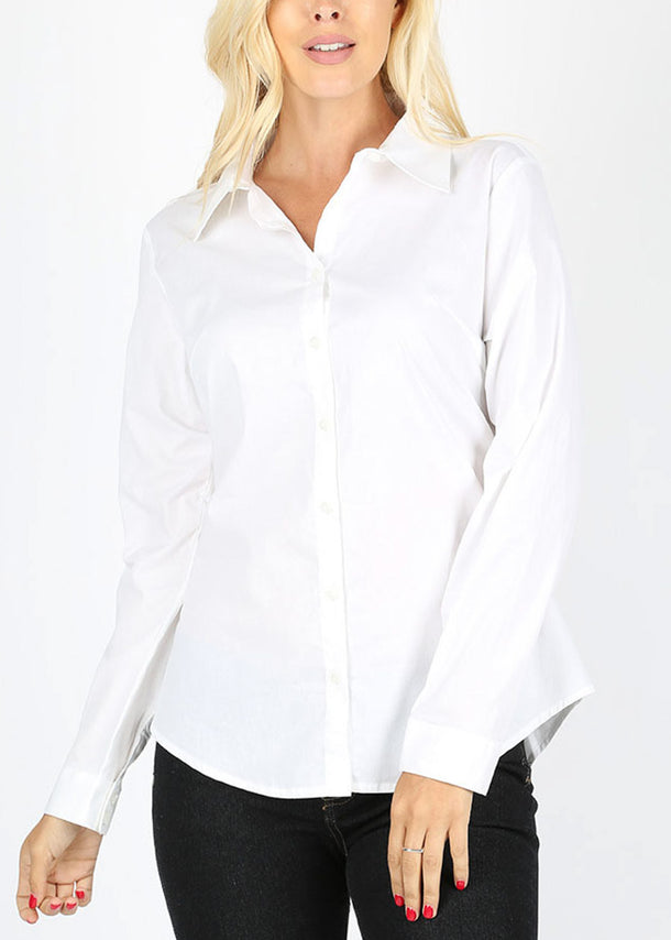 Missy Fit Button Up White Shirt