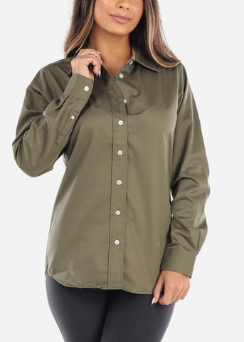 Image of Olive Teflon Button Down Shirt