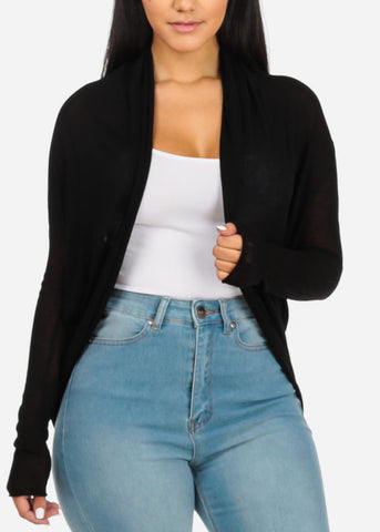 Image of Black Cardigan With Back Ruched Design