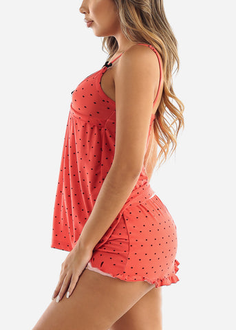 Coral Polka Dot Top & Shorts (2 PCE PJ SET)