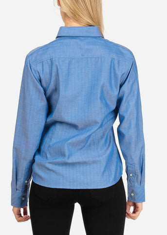 Image of Women's Junior Lady Casual Formal Professional Business Career Wear Long Sleeve Blue Shirt Blouse