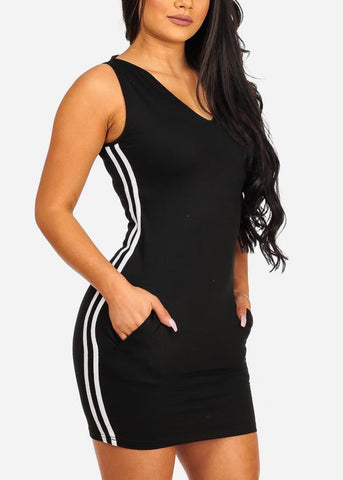 Image of Sexy Casual Stripe Sides Bodycon Black Dress W Hood