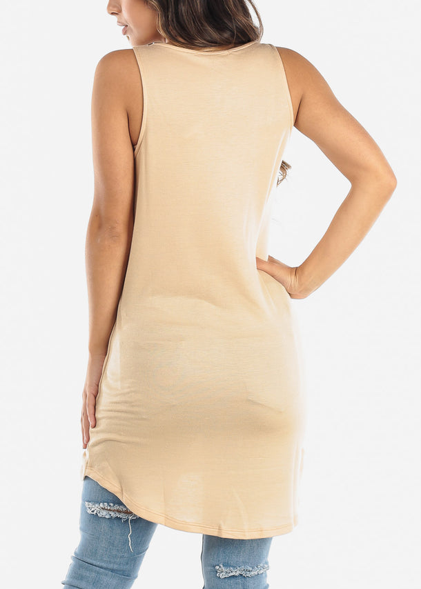 Sleeveless Beige Tunic Top