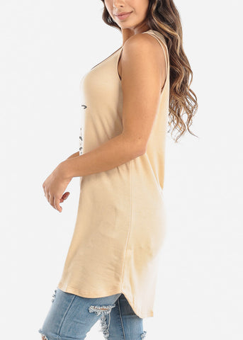 "Sleeveless Beige Tunic Top ""Faith"""