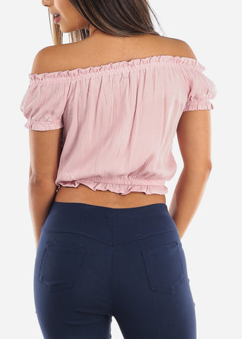 Off Shoulder Mauve Lightweight Crop Top