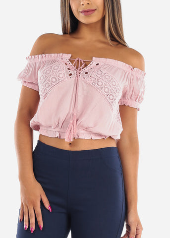 Sexy Cute Off Shoulder Short Sleeve Lightweight Mauve Pink Crop Top With Crochet Detail