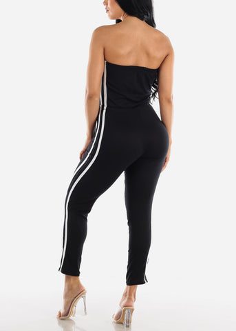 Side Striped Strapless Black Jumpsuit