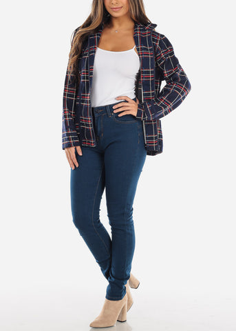 Navy Plaid Zip Up Jacket