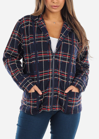 Image of Navy Plaid Zip Up Jacket